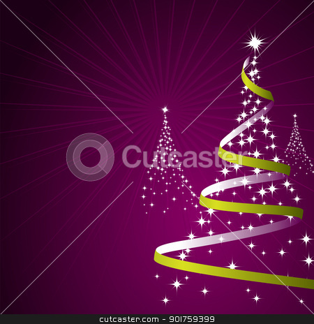 Christmas Background (Vector) stock vector clipart, Illustration of a christmas background with trees made of stars by simas2