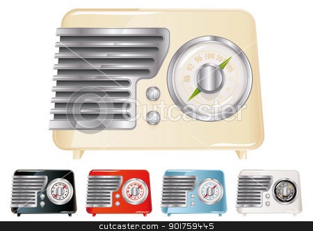 Vintage Radio stock vector clipart, Vintage Radio Illustration (Global Swatches Included) by simas2