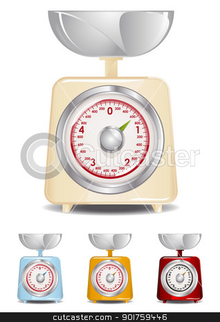 Kitchen Scale stock vector clipart, Retro Kitchen Scale Illustration (Global Swatches Included) by simas2