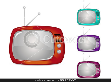 Retro Television (Global Swatches Included) stock vector clipart, Retro Television Illustration (Global Swatches Included) by simas2