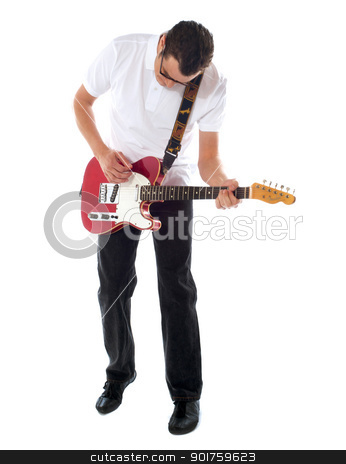 Casual man with guitar looking down stock photo, Handsome casual man with guitar looking down. Isolated on white background by Ishay Botbol