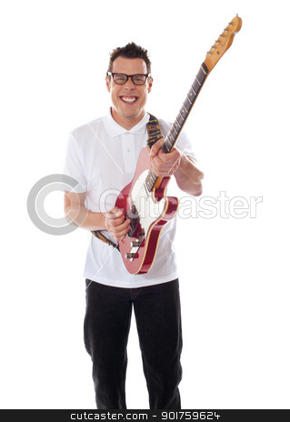 Young guitarist playing guitar stock photo, Young guitarist isolated on white background by Ishay Botbol