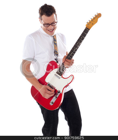 Smart rock guitar player at his best stock photo, Smart rock guitar player at his best. Playing guitar against white background by Ishay Botbol