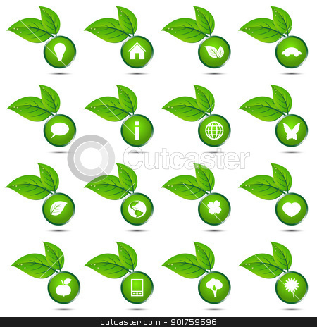 Vector collection of ecological icons stock vector clipart, Vector collection of ecological icons isolated on white background by kurkalukas