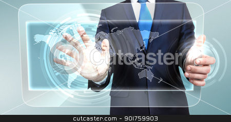 Technology in business stock photo, Businessman in blue suit working with digital vurtual screen by Sergey Nivens