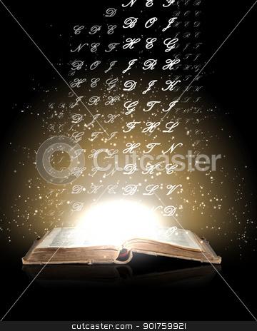 Magic book stock photo, Magic book with light coming from inside it by Sergey Nivens