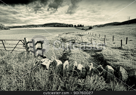 Spring rural landscape with stone wall,  Scotland  stock photo, Spring rural landscape with stone wall and wooden fence,  Scotland  by Juliet Photography