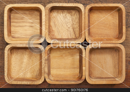 six square wooden bowls stock photo, background and pattern of six wooden bowls with different wood grain by Marek Uliasz