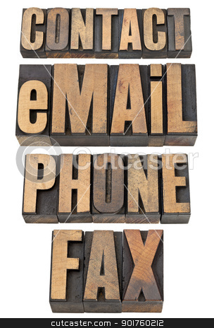 contact, email, phone, fax word set stock photo, contact, email, phone, fax  - isolated word set in vintage letterpress wood type by Marek Uliasz