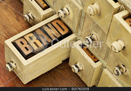 brand word concept stock photo, brand word in vintage letterpress wood type in a drawer of antique apothecary cabinet by Marek Uliasz
