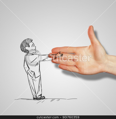 Man shaking human hand stock photo, Drawing of a man shaking human hand by Sergey Nivens