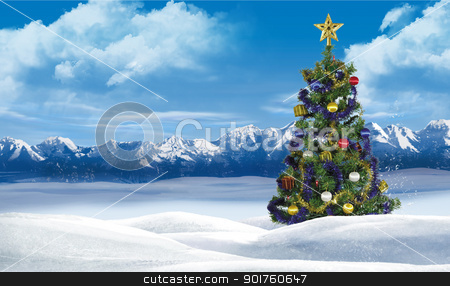 Merry christmas stock photo, Merry christmas tree in snow by Diana