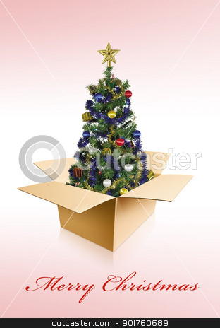 Merry Christmas stock photo, Merry Christmas tree in box by Diana