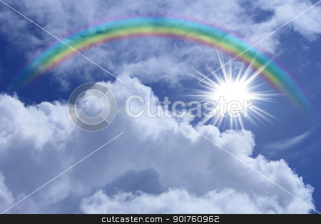 rainbow against blue sky stock photo, rainbow against blue sky in  Morioka,  Iwate,  Touhoku, Japan by yoshiyayo