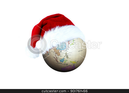 Merry Christmas and globe stock photo, Merry Christmas and globe on white background by Diana