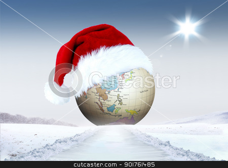 Merry Christmas and globe stock photo, Merry Christmas and globe in snow by Diana