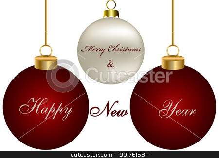 Merry Christmas stock photo, Merry Christmas ornaments for your own design by Diana