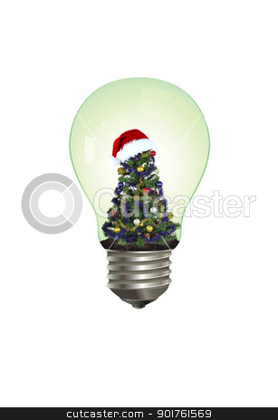 Christmas tree in lamp stock photo, Christmas tree in lamp on white background by Diana