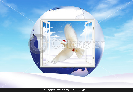 Merry Christmas and dove stock photo, Christmas hat and dove in globe by Diana