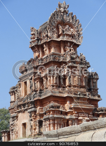 Krishna Temple at Hemakuta Hill stock photo, detail of the Krishna Temple at Hemakuta Hill, a part of the Sacred Center of Vijayanagara around Hampi, a city located in Karnataka, South West India by prill