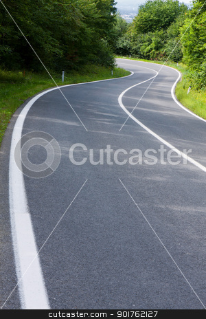 Road stock photo, Straight asphalt road leading into the distance  by ARPAD RADOCZY