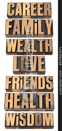 life values list in wood type stock photo, list or hierarchy of popular life values  - career, family, wealth, love, friends, health, wisdom - a collage of isolated words in vintage letterpress wood type by Marek Uliasz