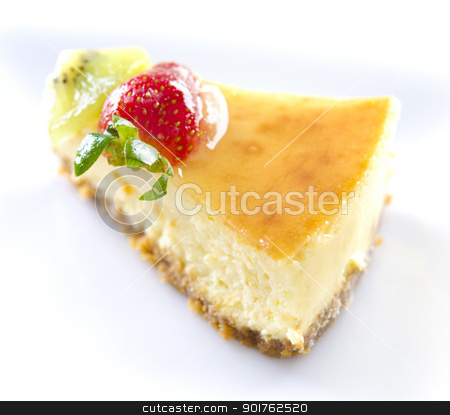 Passion fruit cheese cake slice stock photo, Freshly homemade passion fruit cheese cake slice by szefei
