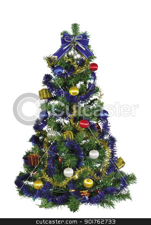 Christmas tree stock photo, Wonderful Christmas tree with color balls by Diana