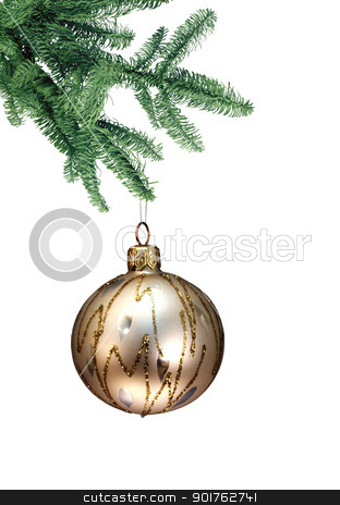 Christmas stock photo, Silver nice ball hanging from the branch by Diana
