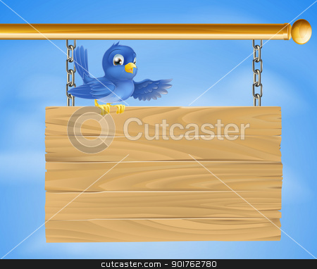 Blue bird on wooden sign stock vector clipart, Illustration of a blue bird standing on a on wooden sign by Christos Georghiou
