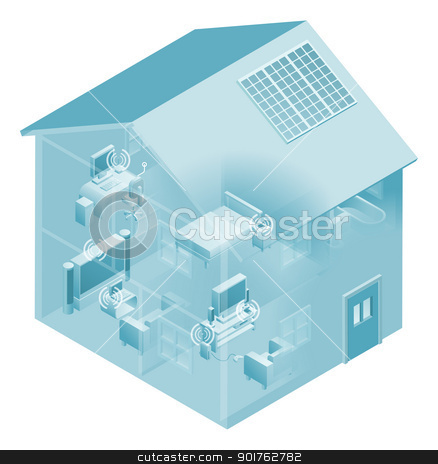Home Local Area Network House stock vector clipart, Local area network with devices like phones, games consoles, pc desktop computer, laptop, and tv connected in a network, wired and wireless.  by Christos Georghiou