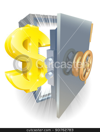 Safe with gold dollar sign stock vector clipart, Illustration of a safe with gold dollar sign coming out if it  by Christos Georghiou