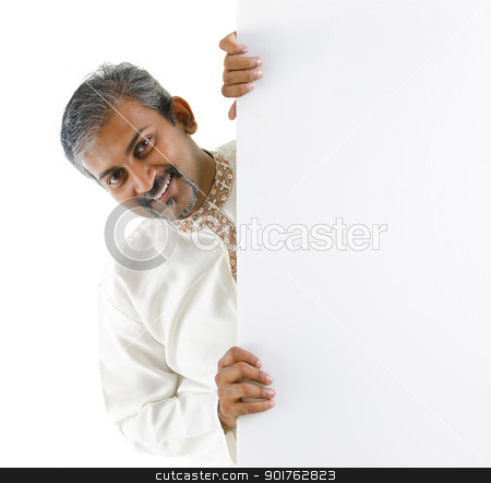 Blank paper for advertisement. stock photo, Mature traditional Indian male hiding on a blank space. by szefei