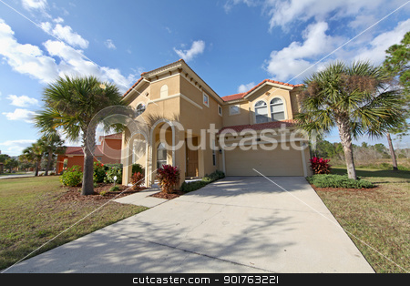 Large Florida Home stock photo, The Front Exterior of a Florida Home by Lucy Clark