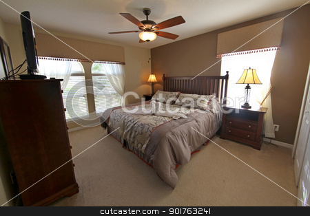 King Master Bedroom stock photo, A King Master Bedroom, Interior Shot of Home by Lucy Clark
