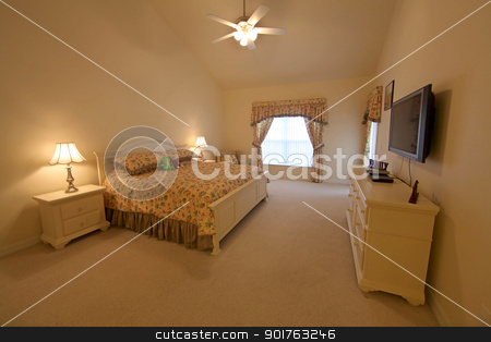King Master Bedroom stock photo, King Master Bedroom, an Interior Shot of a Home by Lucy Clark