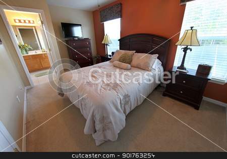 Queen Master Bedroom stock photo, Queen Master Bedroom, Interior Shot of a Home by Lucy Clark