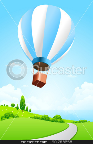 Green Landscape with Hot Air Balloon stock vector clipart, Green Landscape with Sea and Hot Air Balloon by Vadym Nechyporenko