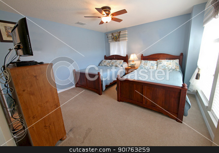 Double Full Bedroom stock photo, Double Full Bedroom, Interior Shot of a Home by Lucy Clark