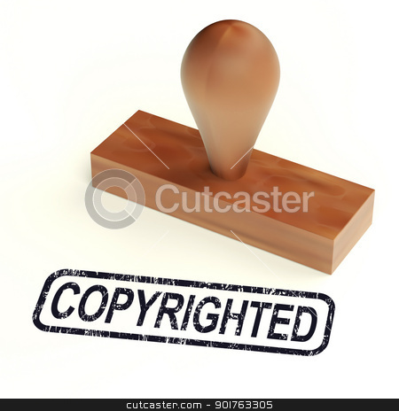 Copyrighted Rubber Stamp Showing Patent stock photo, Copyrighted Rubber Stamp Shows Patent by stuartmiles