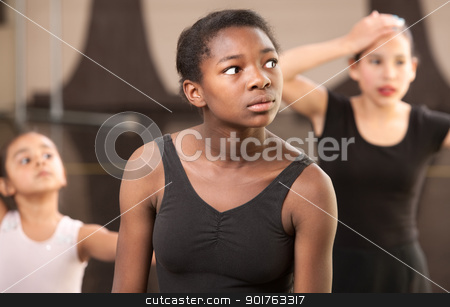 Tired Dance Students stock photo, Overwhelmed young ballet students at dance class by Scott Griessel