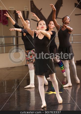 Group of Ballet Students stock photo, Group of young Black and Latina dance students in class by Scott Griessel