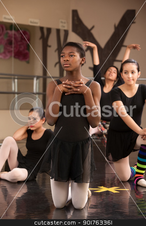Young Dancers Waiting stock photo, Group of young female ballet dancers waiting at rehearsal by Scott Griessel