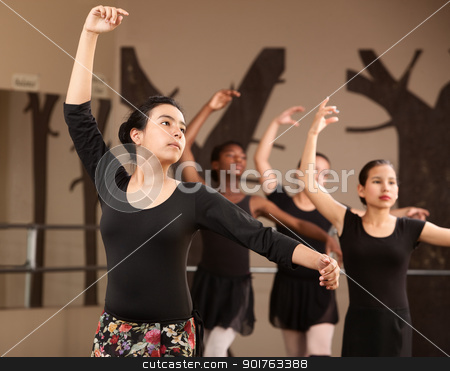 Lovely Ballet Students Practice stock photo, Lovely young Hispanic dance students practicing ballet by Scott Griessel
