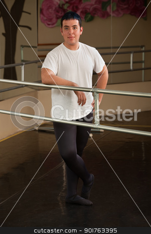 Male Ballet Dancer stock photo, Smiling male ballet dancer in poses in studio by Scott Griessel
