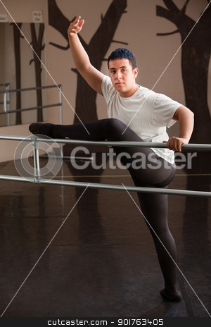Dancer Poses on Railing stock photo, Young man displays a ballet dance pose on railing by Scott Griessel