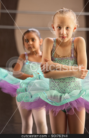 Shivering Ballerinas stock photo, Two cold little children in ballet dresses by Scott Griessel