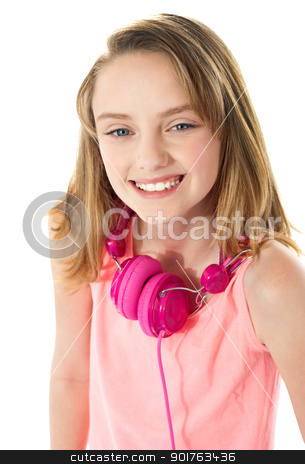 I love music. Do you? stock photo, Smiling girl with headphones around her neck. Closeup shot by Ishay Botbol