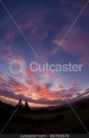 Colorful Sunset stock photo, Colorful sunset and clouds in Central American wilderness by Scott Griessel