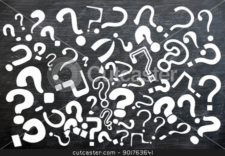 Various question marks on a blackboard stock photo, Various question marks on a smudged blackboard by John Young